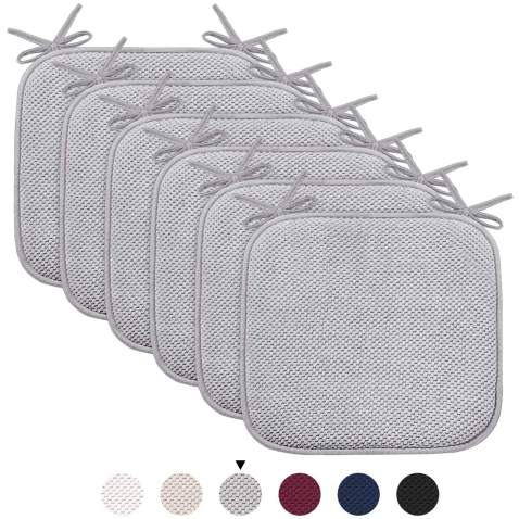 """Turquoize Chair Cushion Pads with Ties Non Slip Honeycomb Memory Foam Seat Chair Cushion Pads Premium Comfort Memory Foam Chair Pads/Cushions Square 16"""" x 16"""" Seat Cover, 6 Pack, Gray"""