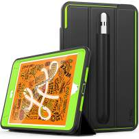SEYMAC iPad Mini 5th Generation Case, Three Layer Heavy Duty [Drop Protection] Shockproof Stand Case [Pencil Holder] with Magnetic Smart Auto Sleep Wake Cover for iPad Mini 5th/4th Gen-Black/Green