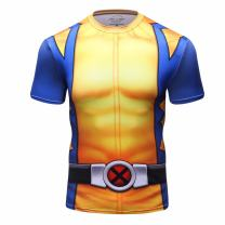 Red Plume Men's Superhero Shirt Sports Fitness T-Shirt Party/Cosplay Short Sleeve