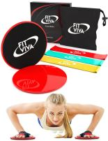 48HOUR Sale! Workout Core Sliders Fitness Exercise and Resistance Loop Bands Bundle with Exercise eBook - Lightweight Workout Equipment for Home