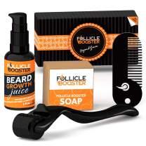 Complete Beard Growth Kit - Titanium Beard Derma Roller + Organic Beard Growth Serum with Follicle Growth Peptides and Biotin + Vitamins Cleansing Soap + Pocket Beard Comb + Beard Growth Calendar