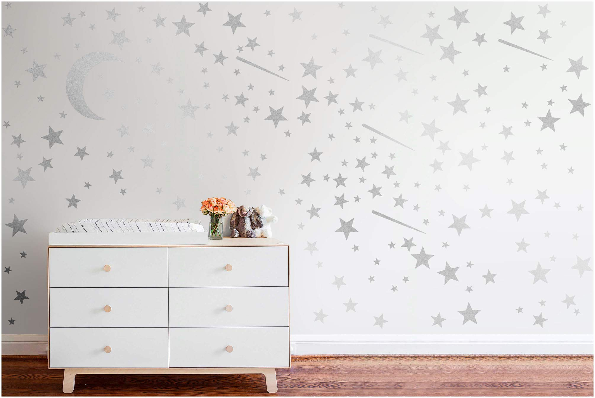 PapaKit Twinkle Little Stars & Moon Wall Decal (Brilliant Silver, 200 Assorted Stickers) Baby Nursery Child Kid Teen Girl Boy Room Home Decor | Creative Art Design Pattern | Safe Removable Adhesive