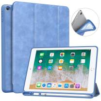 "MoKo Case Fit 2018 iPad 9.7 6th Generation with Pencil Holder - Slim Lightweight Smart Shell Stand Cover Case with Auto Wake/Sleep Fit iPad 9.7"" 2018 Tablet (A1893/A1954), Light Blue"