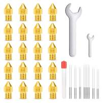 MK8 Nozzles, Bibonse 20PCS 3D Printer Extruders Brass Nozzles with 15 Stainless Steel Cleanning Needles & 2 Wrenches for Ender 2/3/5 Makerbot Creality CR-10 Anet A6 A8