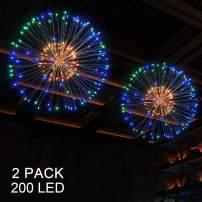 BizoeRade Firework Lights LED String Light, 200 LED Starburst Lights, 8 Mode Dimmable with Remote, Battery Operated LED Novelty Lights (2 Pack Multicolor)