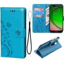 Teebo Wallet Case for Motorola Moto G7/Moto G7 Plus Kickstand Card Holder Embossed Butterfly Flower PU Leather Magnetic Flip Cover for Moto G7/Moto G7 Plus (Blue)