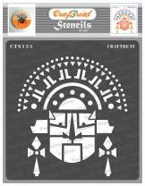 CrafTreat Tribal Stencils for Painting on Wood, Wall, Tile, Canvas, Paper, Fabric and Floor - Tribal Face Mask Stencil - 6x6 Inches - Reusable DIY Art and Craft Stencils - Tribal Face Stencil
