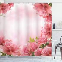 """Ambesonne Valentine Shower Curtain, Framework with Romantic Roses with Leaves Bridal Wedding Marriage Corsage, Cloth Fabric Bathroom Decor Set with Hooks, 70"""" Long, Pink Coral"""