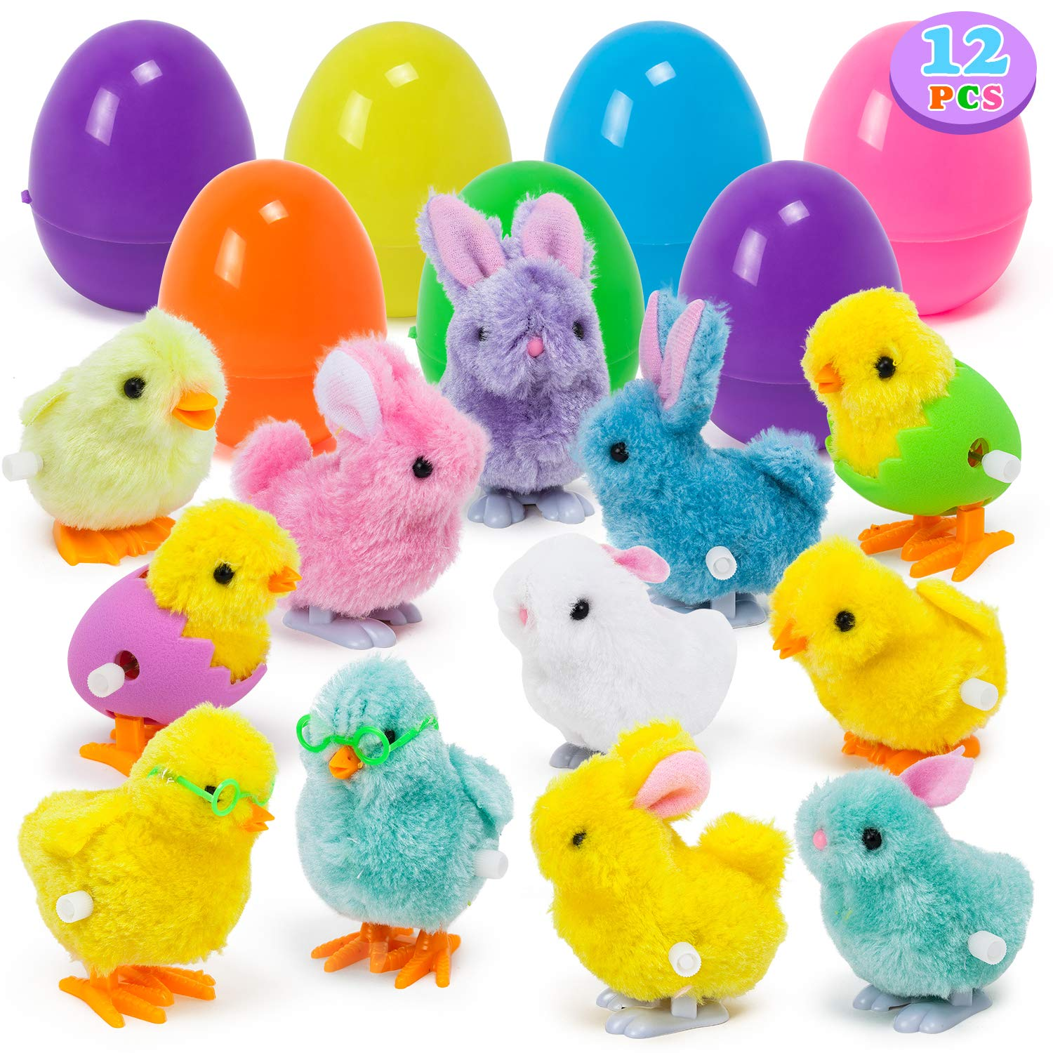 YIHONG 12 Pack Easter Eggs Filled with Wind-up Bunnies and Chicks,3.8inch Large Surprise Eggs Prefilled Toys for Easter Eggs Hunt, Easter Basket Stuffers, Easter Party Favors