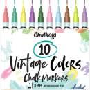 Liquid Chalk Markers for Blackboards (10 Vintage Colors) - Fine Tip Dry Erase Marker Pens for Chalkboards Signs, Windows, Bistro - 3mm Reversible Tip - 50 Chalkboard Labels Included