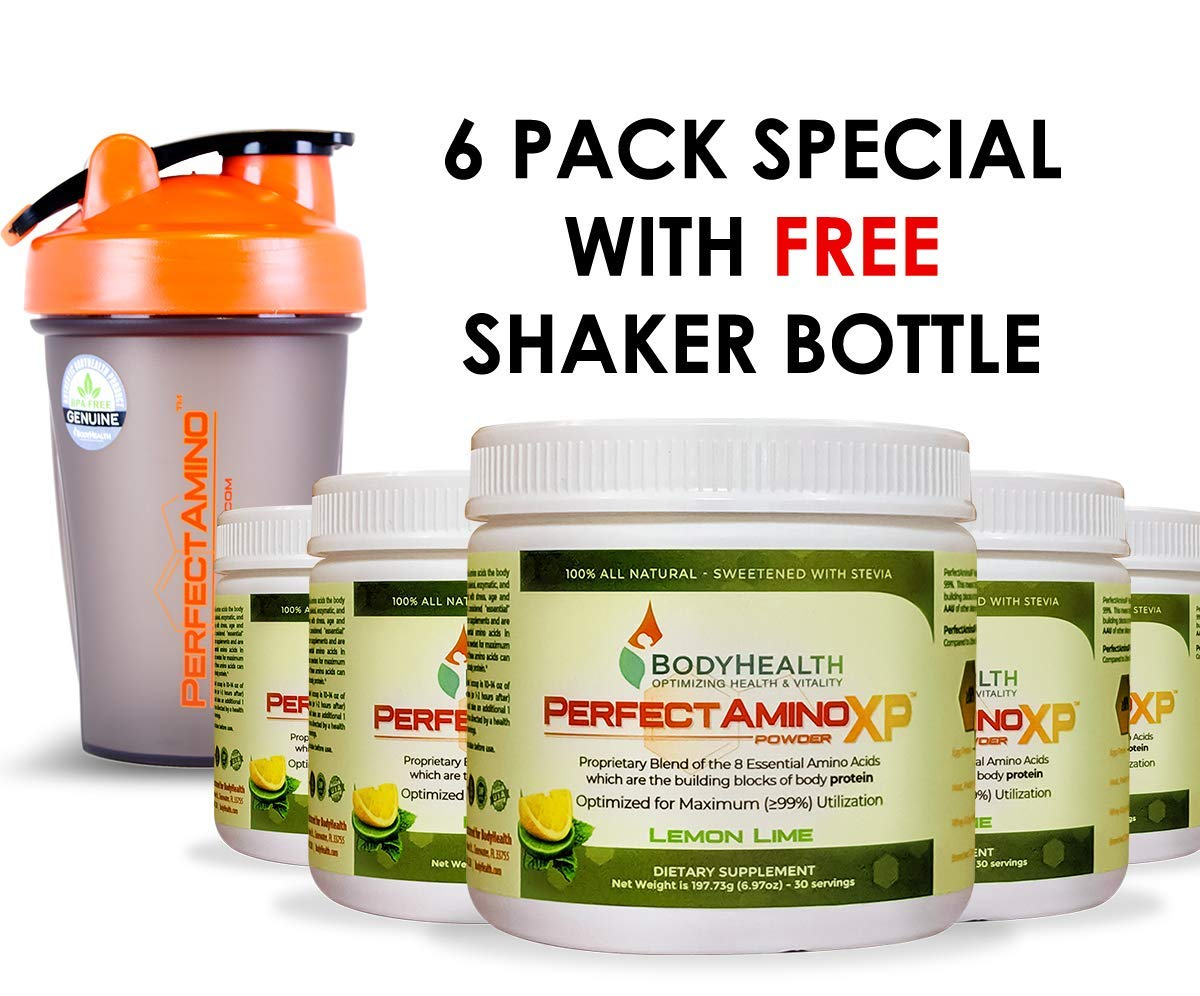 BodyHealth PerfectAmino XP Lemon Lime (6 Pack + Shaker Bottle), Best Pre/Post Workout Recovery Drink, 8 Essential Amino Acids Energy Supplement with 50% BCAAs, 100% Organic, 99% Utilization