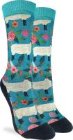 Good Luck Sock Women's Floral Sheep Crew Socks - Blue, Adult Shoe Size 5-9