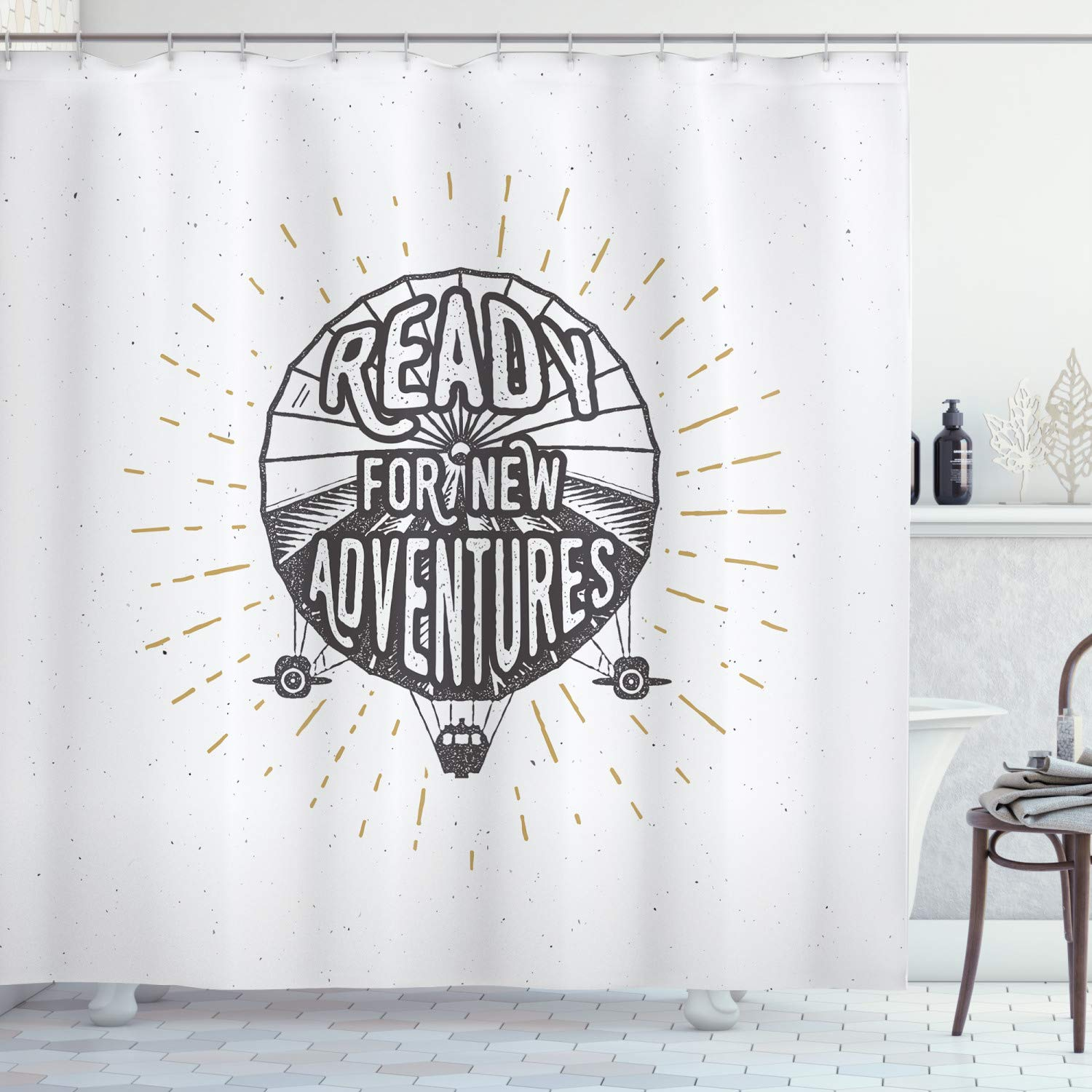 """Ambesonne Saying Shower Curtain, Inspirational Ready for New Adventures Motivational Lettering on Balloon Print, Cloth Fabric Bathroom Decor Set with Hooks, 70"""" Long, Black and White"""