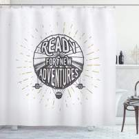 """Ambesonne Saying Shower Curtain, Inspirational Ready for New Adventures Motivational Lettering on Balloon Print, Cloth Fabric Bathroom Decor Set with Hooks, 75"""" Long, Black and White"""