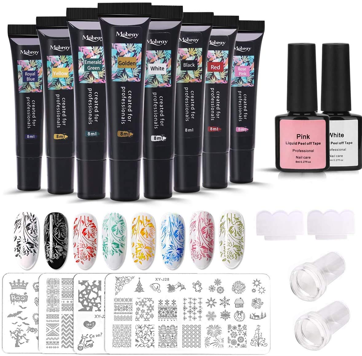 Nail Art Stamping Kit, MYSWEETY 8PCS 8ml Stamping Gel Black White Pink Soak Off Nail Art UV Gel Polish with Nail Stamp Plate
