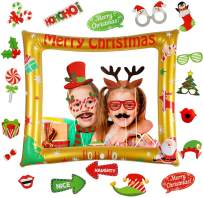 Christmas Photo Booth Props Kit-PVC Inflatable Christmas Photo Booth Prop Frame 32pcs Christmas Photo Props Christmas Photo Ornaments for Winter New Year Xmas Christmas Party Decorations Supplies