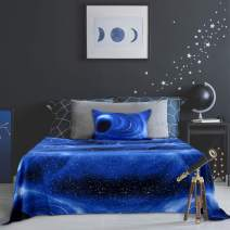 PiccoCasa Galaxy Bed Sheet Set,4 Piece Soft Polyester Microfiber Bedding Set,Including 3D Space Star Theme Bed Sheet & Fitted Sheet with 2 Pillowcases Blue Twin