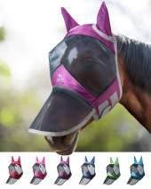 Harrison Howard CareMaster Pro Luminous Horse Fly Mask Long Nose with Ears