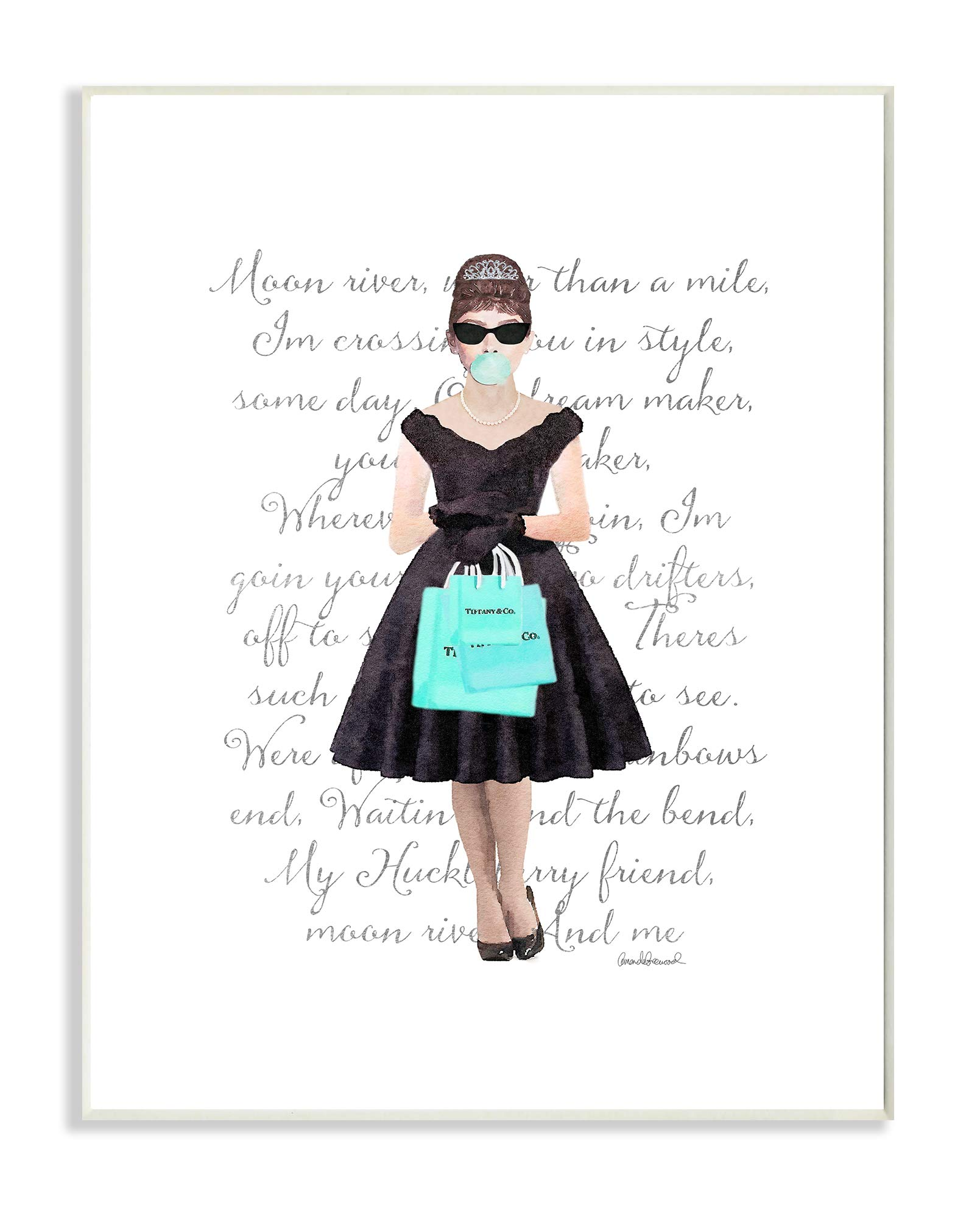 The Stupell Home Décor Collection Glam Shopping Hepburn Woman Blue Bubble Gum Fashion Wall Plaque Art, 13 x 19, Multi-Color