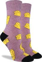 Good Luck Sock Women's Cheese Crew Socks - Purple, Adult Shoe Size 5-9