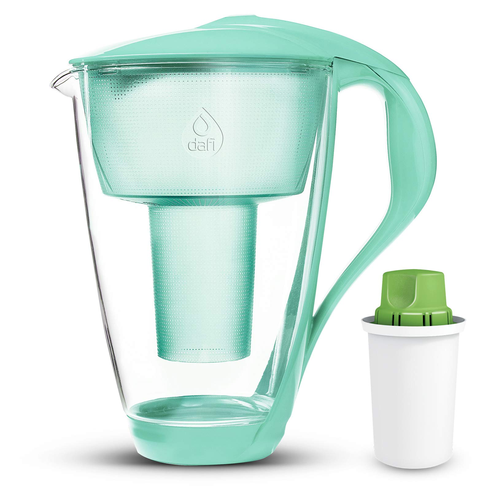 Dafi Alkaline UP Crystal Glass Water Pitcher 8 cups (Mint - Crystal Alkaline Water Pitcher with 1 Alkaline UP pH Water Filter)