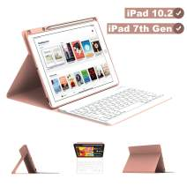 Maxfree iPad Keyboard Case for iPad 7th Generation 10.2 2019, Magnetically Detachable Wireless/BT Auto Sleep Keyboard with Pencil Holder, Full Folio Cover for iPad 10.2 Inch, Rose Golden