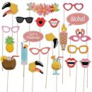 LeeSky 21pcs Luau Hawaii Photo Booth Props Kit -Hawaiian,Holiday,Tropical,Tiki,Beach,Wedding,Summer Party Decoration Supplies