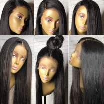 """Fake Scalp Human Hair Wigs for African American women - Light Yaki Straight Brazilian Wigs for Black Women with Baby Hair 360 Lace Frontal Wig with Fake Scalp 150% -180% Density 16""""NC Fake Scalp Wig"""