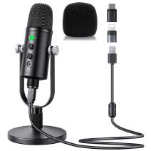 Mercase USB Condenser Microphone for PC/Micro/Mac/iOS/Android with Noise Cancellation and Reverb for Voice and Music Recording, Podcasting, Streaming, Gaming