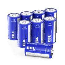 EBL C Batteries Alkaline C Batteries - Durable and Lasting Performance Alkaline Batteries for Household and Business, Toys, Remotes, Flashlights, Camping Lights, Electronic Devices (8 Pack)
