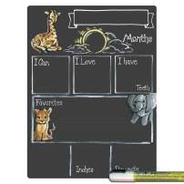 Cohas Monthly Milestone Board for Baby with Safari Theme, Reusable Chalkboard Style Surface, and Liquid Chalk Marker, 9 by 12 Inches, White Marker