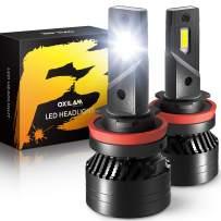 OXILAM H11 LED Headlight Bulbs 16,000 Lumens 90W High Power Mini Size H11 H9 H8 LED Headlight Bulbs Conversion Kit 6500K White, Pack of 2