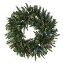 """Vickerman Cashmere Artificial Wreath with 200 Multi-Colored LED Lights, 60"""""""