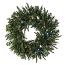 Vickerman Cashmere Artificial Wreath with 200 Multi-Colored LED Lights, 60""