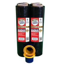 Stretch Film Plastic Wrap Roll - Black, 18 in x 1100 Ft x 80 Gauge (20 Micron), 4 Pack with 1 Pair Hand Saver, Industrial Heavy Duty Shrink Wrap for Packing, Shipping, Pallet, Moving Supplies by PofA