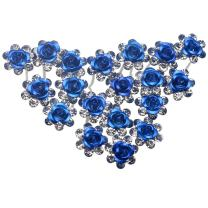 Newstarfactory Rose U-sharped Design Collection Metal Hair Pins Pack of 20 with Exclusive Gift (Blue)