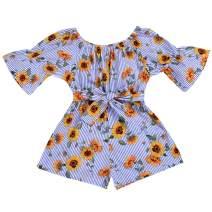 Toddler Baby Girl Floral Bodysuit Romper Off Shoulder Bowknot Stripe Jumpsuit Summer Infant Sundress Outfit Clothes