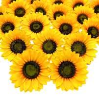 Grunyia 14 Pcs Artificial Sunflower Heads Silk Yellow 5.2 Inch