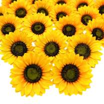 Grunyia 14 Pcs Artificial Sunflower Heads Silk Yellow 5.2 Inch