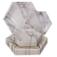 PARTY DISPOSABLE 432 PC DINNERWARE SET | 216 Dinner Plates | 216 Side Plates | Heavyweight Paper Plates | Hexagon Design | for Upscale Wedding and Dining (Marble Collection – Silver)