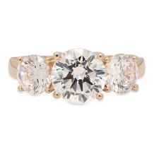 Clara Pucci 3.45CT Round Cut Solitaire 3-Stone Engagement Wedding Anniversary Promise Band Ring 14K Yellow Gold