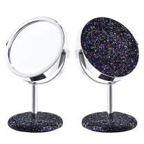 DERUI CREATION Makeup Mirror Vanity Mirror For Teenage Girls,Desktop Tabletop Mirror,Colourful Glittery Compact Mirror,Gift For Young Girl and Women (Balck)