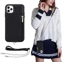 iPhone 11 Pro Max Wallet Case,iPhone 11 Pro Max Crossbody Case,JISON21 iPhone 11 Pro Max 6.5'' Case with Credit Card Holder Slot Zipper Handbag Purse, Protective Leather Case(Black)