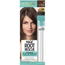 L'Oreal Paris Magic Root Rescue 10 Minute Root Hair Coloring Kit, Permanent Hair Color with Quick Precision Applicator, 100% Gray Coverage, 4 Dark Brown, 1 kit (Packaging May Vary)