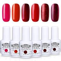 Perfect Summer Glitter Red Gel Nail Polish Set - 6 Colors Gel Nail Varnish Soak Off UV LED Manicure Series Colors Collection 8ML