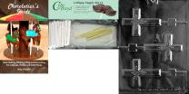Cybrtrayd Large Cross Lolly w/ Flowers Chocolate Candy Mold with Chocolatier's Bundle, Includes 25 Sticks, 25 Cello Bags, 25 Gold Twist Ties and Chocolatier's Guide