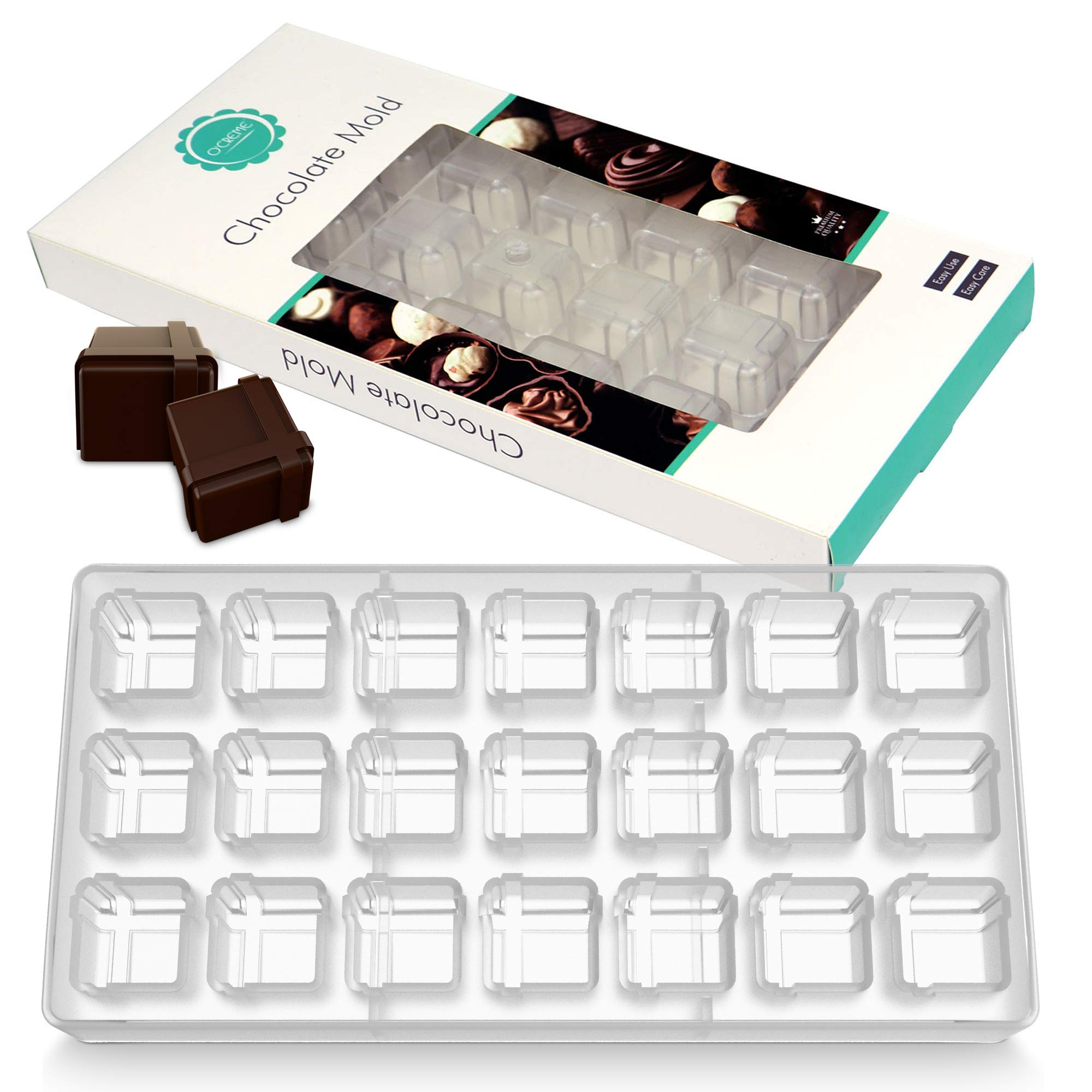 O'Creme Clear Polycarbonate Chocolate Mold Transparent Candy Mould Square Gift Box 21 Cavities