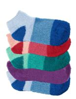 Women's Extra Large Super Aloe Infused Fuzzy Nylon Socks (5 Pairs), Assortment 91