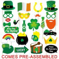 25 PCS St. Patrick's Day Photo Booth Props Kit - Large Size, NO DIY Needed - Funny Shamrock Photo Booth Props for Saint Patty's Day Party Favors Irish Party Decoations Supplies