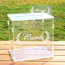 Aytai Acrylic Wedding Card Box, Clear Card Box with Lock and Card Sign, Upgraded Security Money Box Gift Card Box for Wedding Reception Birthday Baby Shower